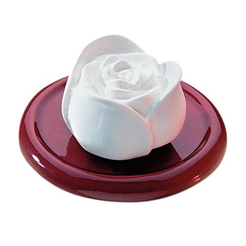 Bitto Objeto decorativo aromático, cerámica perfumada Fragancia de rosas con platillo esmaltado en burdeos Ø 10 cm