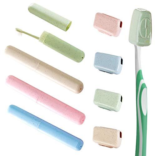 LATTCURE Zahnbürste Etui, Zahnbürstenbox Zahnbürstenhülle tragbar Weizenstroh Zahnbürste Aufbewahrungsbox Zahnbürsten Cover Case Zahnbürste Schutzhülle Zahnbürstenbehälter für Reisen, 8 Stück