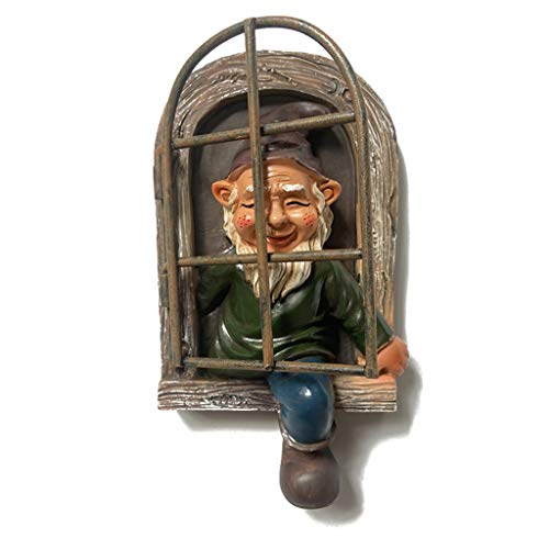 Oyrcvweuy Escultura de gnomo de jardín travieso de resina para decoración de pared, adorno colgante para Navidad, gnomo de ventana, regalo creativo para amigos