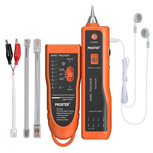 Proster Netzwerkkabel Wire Tracker XQ 350 mit Kopfhörer Hochempfindlicher Handheld Telefonkabeltester Wire Tracker für LAN Ethernet BNC RJ45 RJ11 Tester -Orange