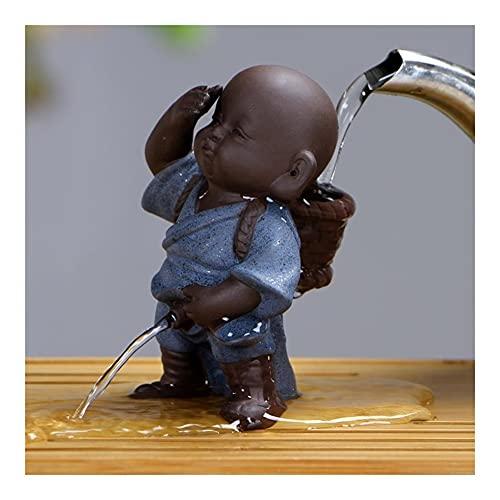 Whyzb Escultura Té Mascotas Adornos Arte Popular Púrpura Arcilla Decoración Artesanía Figuras Little Monk Tea Accesorios (Color : 4)