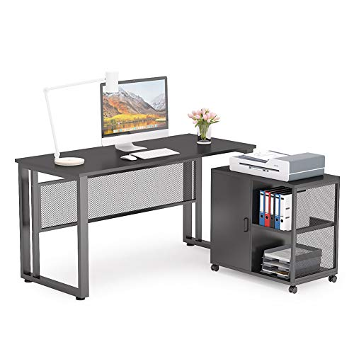 "Tribesigns L-Shaped Computer Desk, 55 inch Executive Desk Business Furniture with 27.5"" File Cabinet Storage Mobile Printer Filing Stand for Home Office Desk Black"