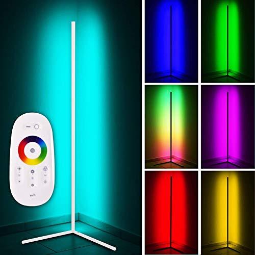 LED Stehlampe Eck standleuchte Innenatmosphäre Lampe RGB Einstellbare Helligkeit mit Fernbedienung für Wohnzimmer Schlafzimmer,Weiß