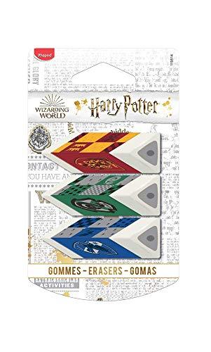 Maped - Lot de 3 Gommes Pyramides - Apporte Précision et Confort - Gomme Blanche - License Harry Potter