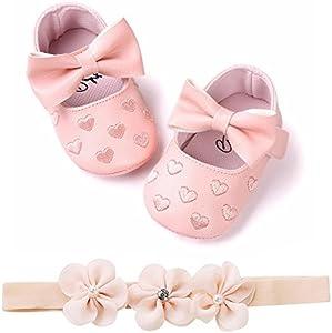 Fossen Zapatos de Bebe Fossen Recién Nacido Niñas Piel Artificial Primeros Pasos Bordado Corazón Patrones Y Diadema de Flores (0-6 Meses, Rosa)