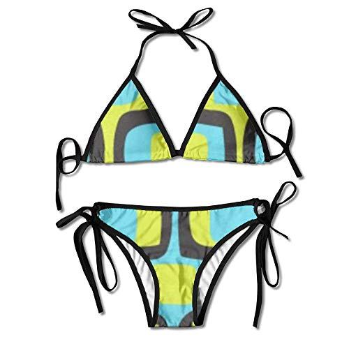 ZQHRS Geometrische Marokko Muster Womens Sexy Bikini Set Outdoor Bademode Verstellbarer Badeanzug 2 Stück