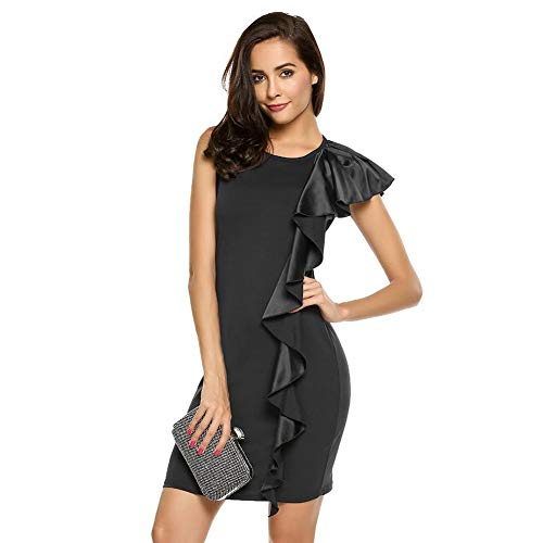 SXX Dames mouwloze jurk, werkkleding, polyester ronde hals, potloodrok, ruches maxirokken, geschikt voor avondevenementen, bruiloften en dating