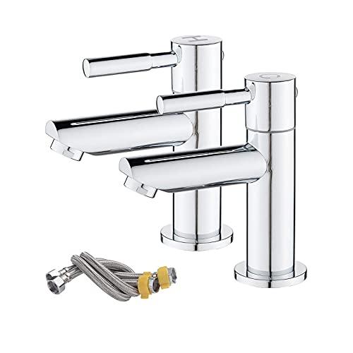 HZNZYJ Grifo De Baño Cuencar Pilar Taps Par Máquina de Lavabo Fregadero Taps1 / 4 Turn Baño Pareja Faucets Twin Palanca