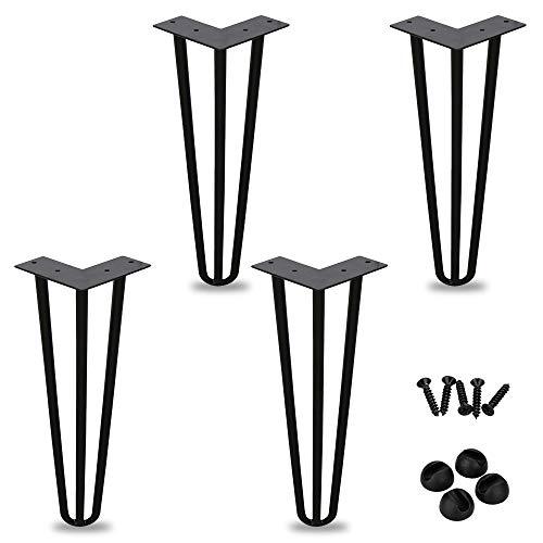 4 piezas de patas de mesa de horquilla patas de horquilla con varilla triple, (8 pulgadas), para mesa de café, mesa de comedor, mesa de trabajo, negro, diámetro 12 mm