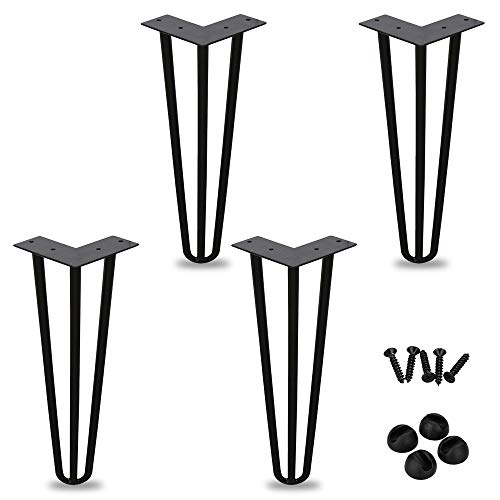 Hengda 4x Gambe per mobili Gambe da tavolo | acciaio 12 mm | molti colori | Dimensioni 15 cm-72 cm | Telaio da tavolo 20 cm / 3 distanziatori (nero)