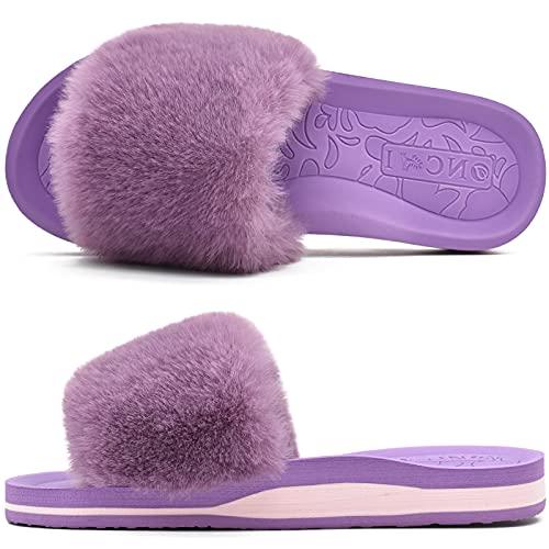 ONCAI Chaussons Femme Confort Peluche Claquette Bout Ouvert Pantoufles avec Support de Voûte Plantaire Tapis de Yoga Fourré Sandales Violet Taille 40
