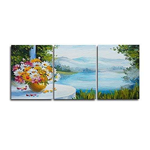 Toile de peinture 3 panneau toile peinture vintage paysage chinois aquarelle fleurs affiches et empreintes Art de mur photo pour le salon décor (Size (Inch) : 20X30cm No Frame)