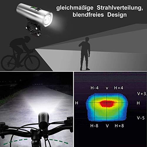 Nestling LED Fahrradlicht Set,StVZO Zugelassen 600 Lumen LED Fahrradbeleuchtung Fahrradlampe Set USB Wiederaufladbar IPX5 Wasserdicht Frontlicht & Rücklicht für Nachtfahrer Radfahren,Outdoor Sport - 4