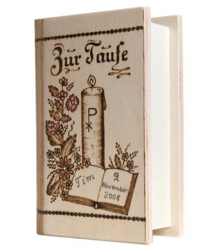 Spardose zur Taufe mit Namen personalisiert - Taufgeschenk für Jungen & Mädchen - Holzspardose in Buchform