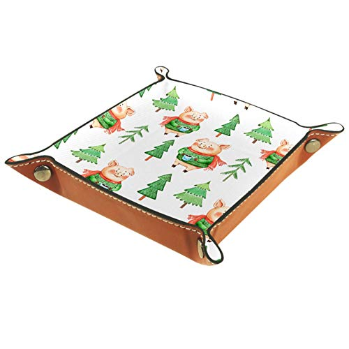 XiangHeFu Valet Tray Desk Organizer - Hero Pig With Green Sweater Coffee Christmas Tree - Leather Dresser Tray for Men and Women Key Jewelry Accessories