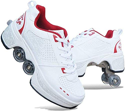 FLY FLU Schuhe Mit Rollen Skateboardschuhe,Inline-Skate,2-in-1-Mehrzweckschuhe,Verstellbare Quad-Rollschuh-Stiefel-Männliche Und Weibliche Paare 35-43EU,Red-43