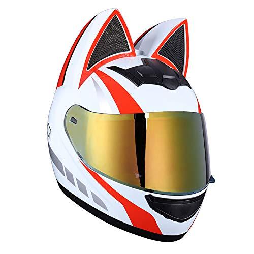 Casco Integral De Motocicleta Con Orejas De Gato, Visera Plegable Desmontable Para Adultos Casco De Motocicleta Todoterreno Casco Integral Modular De Colisión De Motocicleta Certificación DOT