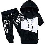 [SunSet Hill] ジャージ 上下セット セットアップ フード付き パーカー 半袖 7分丈パンツ スポーツウェア アウトドア 英字プリント メンズ レディース ブラック XLサイズ くろ はい