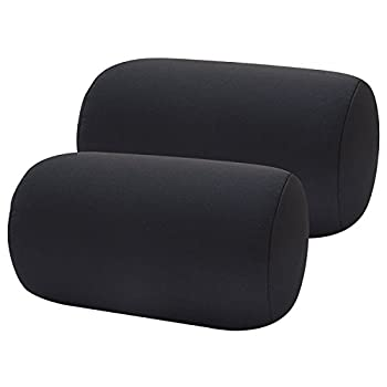 BookishBunny 2pcs Micro Bead Roll Pillow Cushion for Bed Back Neck Head Body Support 13  x 7  Various Designs  Black