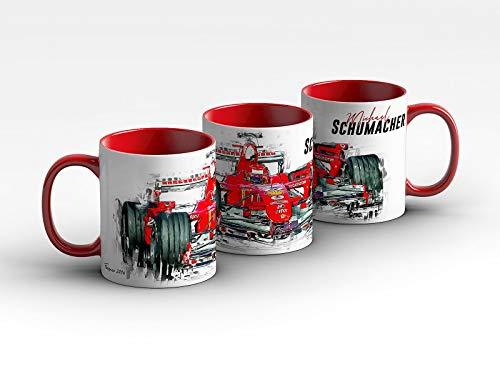 gasoline.gallery Formel 1 Tasse - Michael Schumacher - Scuderia Ferrari - 2006 Front Kaffeebecher Rot