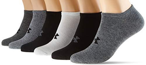 Under Armour Herren Füßlinge mit hohem Tragekomfort, Atmungsaktive Sportsocken Essentials No Show Socken, 6er-Pack, Pitch gray/ White/ Black (012), XL, 1358780-012
