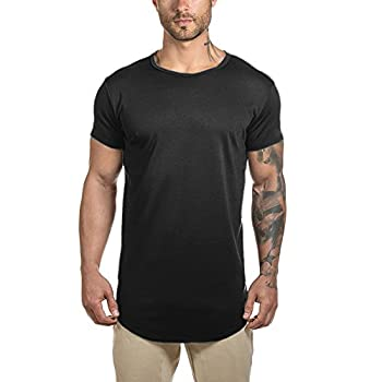 Mens Longline Gym Muscle Bodybuilding Tshirts Hipster Reflective Line Scallop Crewneck Tees Shirts Tops  L Black with Reflective