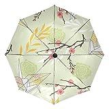 Ombrello da viaggio piccolo antivento da esterno pioggia sole UV auto compatto 3 pieghe ombrello copertura - Rose Sakura Origami gru arte retrò