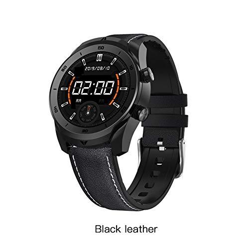 Xingyu - Reloj inteligente para hombre ECG IP67 resistente al agua Bluetooth llamada HD 360 * 360 resolución 360 * 360 * Business Smartwatch (color: negro cuero)