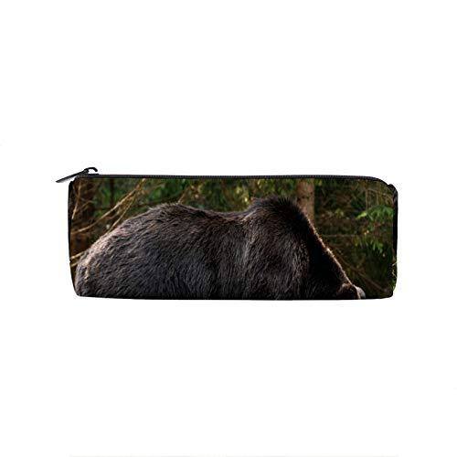 Estuche para lápices de Rusia, diseño de oso bosque, marrón grizzly, con cremallera, soporte para bolígrafo escolar, gran capacidad, para adolescentes, niños, niñas, oficina, viajes