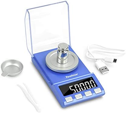 Toolour Digital Milligram Scale 50 x 0 001g Jewelry Powder Gold Carat Scale USB Battery Powered product image