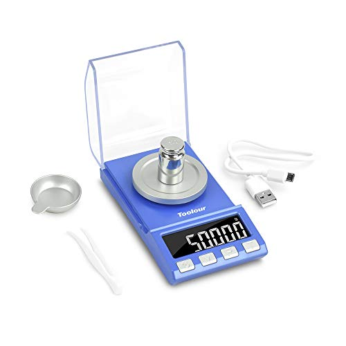 Toolour Digital Milligram Scale 50 x 0.001g Jewelry Powder Gold Carat Scale - USB/Battery Powered, 8 Modes, with Calibration Weight, Weighing Pan and Tweezers