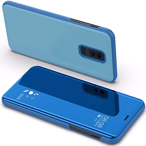 WEIFA OnePlus6 Flip Case, kijkvenster, flip-sta-functie, reflecterend, spiegelend, Smart Awake Sleep Phone Case voor OnePlus 6, Scan QR-code app