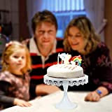 JUJOYBD Tortenplatte Vintage, Torten-Teller mit Fuß, Cupcake Ständer Display Metall-Platte für Torten Kuchen Dessert in Weiß, Ø 250 mm, Hochzeit Party Deko - 2