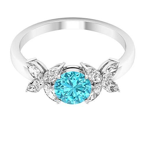 Anillo solitario de topacio azul suizo de 1,50 quilates con detalles de diamante floral (calidad AAA), 14K Oro rosa, Size:EU 54