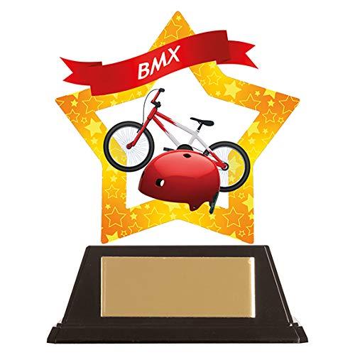 Mini Star BMX Acrylic Trophy,Award,100mm,Free Engraving (AC19637A) TRD