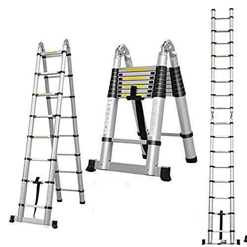 Aluminum Telescoping Extension Ladder 330 Pound Capacity 16.5 Feet 16 Folding Steps A-Frame 2.5m+2.5m