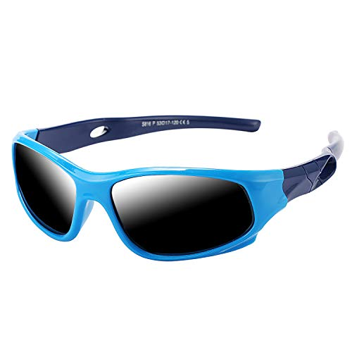 Pro Acme TR90 Unbreakable Polarized Sports Sunglasses for Kids Boys and Girls (Baby Blue)