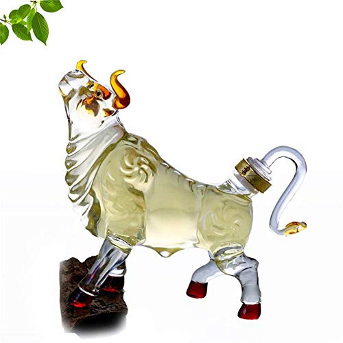 GXYtable cloth Decantador de Whisky Decantador de Vino Decantador de Animales Decanter Bull Modeling - Alto Vidrio de borosilicato para Licor Vodka escocés o Vino (Tamaño: 2500 ml) (Size : 1500ml)