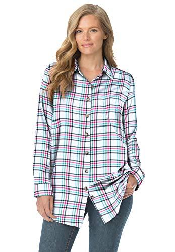 Woman Within Women's Plus Size Classic Flannel Shirt - 1X, Soft Lavender Plaid