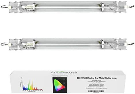 iGrowtek 2 Packs 6000K 1000W Double Ended MH Grow Light Bulb 1000 Watt DE Metal Halide Grow product image