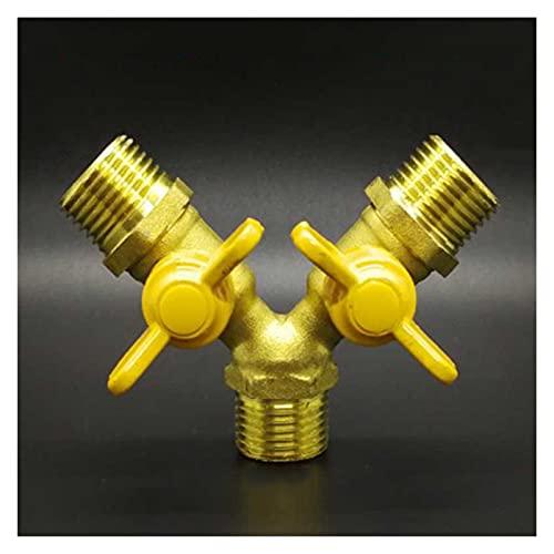 Válvula de ducha 1/2'BSP Hilo masculino 3 vías de latón cerrado la válvula de bola para la manguera