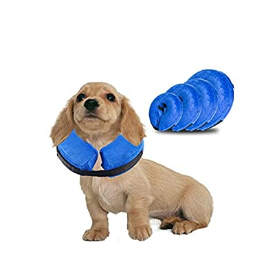 Rkicemoy Inflatable Dog Cone Neck Collar for After Surgery, Soft Dog Cones Protective Pet Recovery Collar, Dogs Cats e-Collar Prevent Pet from Licking Touch Wounds