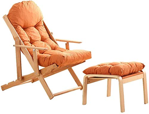SFSGH Recliner Zero Gravity Chair Holzklappbarer Reclining 3 Winkel Verstellbarer Faltbarer Recliner Balkonstuhl Gartenstuhl im Freien Sonnenliege mit Kissen und Fußstütze (Farbe: Weiß)