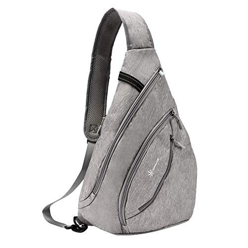 SUNSEATON Sling Rucksack, Crossbody Bag Wasserdicht, Gym Schulterrucksack, Sling Bag für Outdoor Wandern Camping (Grau)