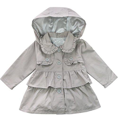 YiZYiF YiZYiF Baby Mädchen Kinder Jacke Trenchcoat Winter Mantel mit Kapuzen Outwear Gr. 80 92 98 104 110 Grau 104 (Herstellergröße:110)