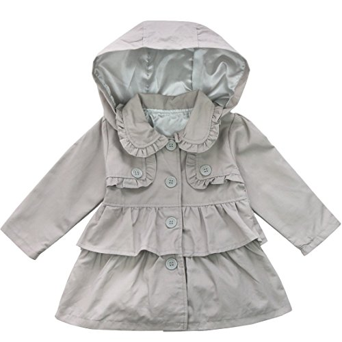 ACSUSS Infant Baby Girls Spring Autumn Trench Coat Ruffled Hooded Windbreaker Jacket Lightweight Outerwear Gray 6-12 Months