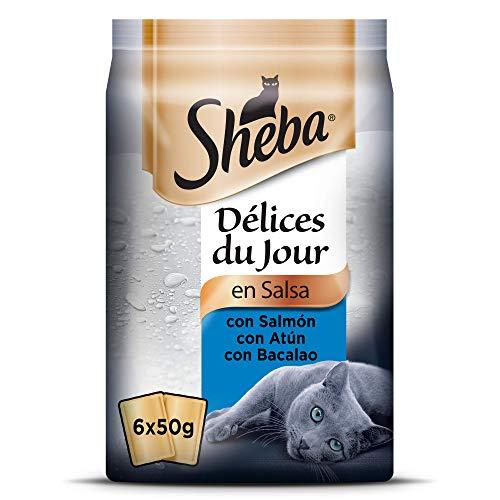 Sheba Délices du Jour Comida húmeda para Gatos, Sabor Pescado, Multipack (Pack de 12 x 6 bolsitas x 50g)