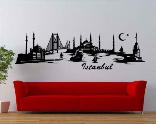 myDruck-Store Wandtattoo Istanbul Skyline XXL Türkei Wand Aufkleber Wohnzimmer Stadt 1M062_2, Farbe:Schwarz Matt;Größe (Länge):160 cm