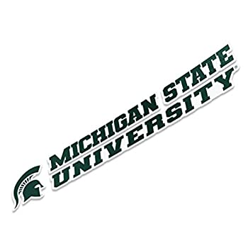 Michigan State University Spartans MSU Go Green Name Logo Vinyl Decal Laptop Water Bottle Car Scrapbook  8 Inch Sticker