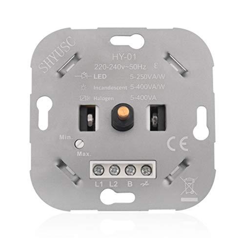 SHYUSC® Dimmer Für Led, 230V Dimmer LED Drehdimmer Dimmschalter Phasenabschnitt LED 5-250 VA/W Für Dimmbare Halogenlampen 5-400 VA/W Einfach Zu Installieren Mit 5 Jahre Garantie